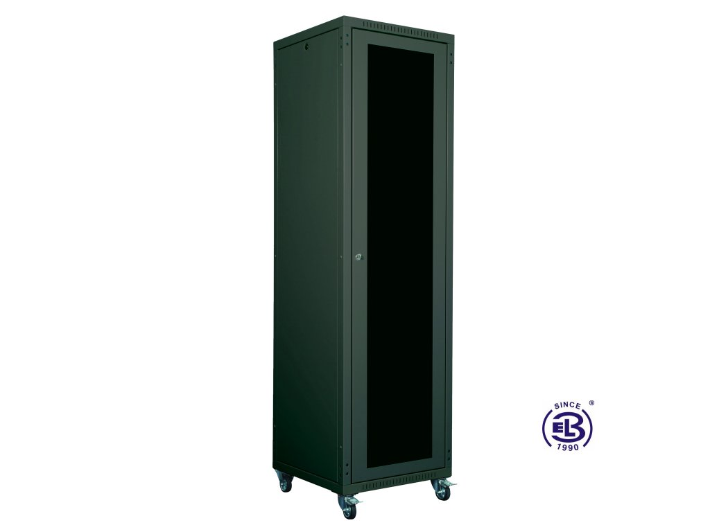 """Rozvaděč skládaný 19"""", LC-05+, 42U, 600x600, černý, skleněné dveře"""