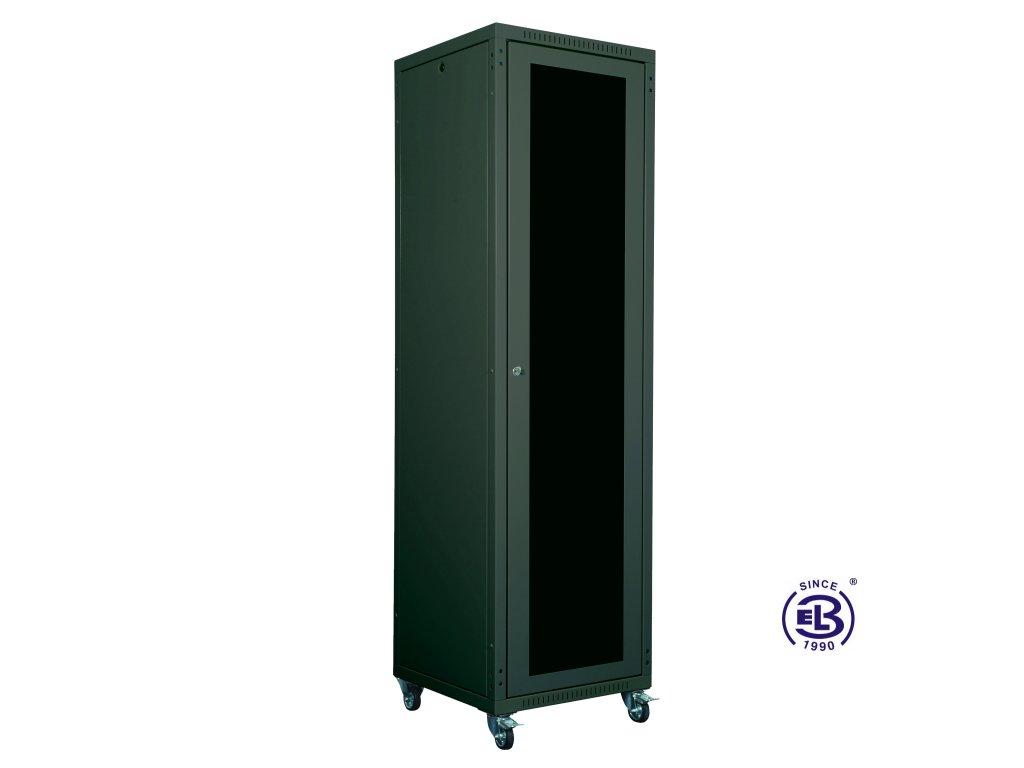 """Rozvaděč skládaný 19"""", LC-05+, 24U, 800x600, černý, skleněné dveře"""