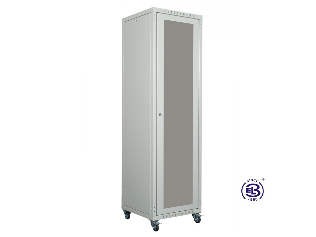 """Rozvaděč skládaný 19"""", LC-05+, 24U, 600x800, šedý, skleněné dveře"""