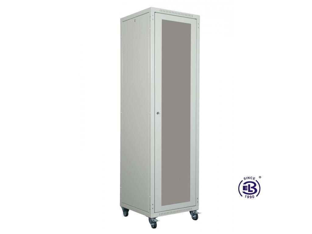 """Rozvaděč skládaný 19"""", LC-05+, 24U, 800x800, šedý, skleněné dveře"""