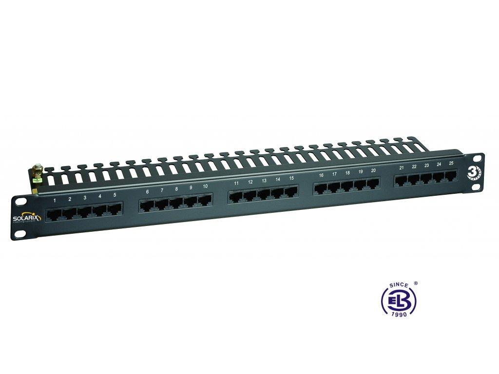 ISDN panel 25 x RJ45 černý 1U SOLARIX