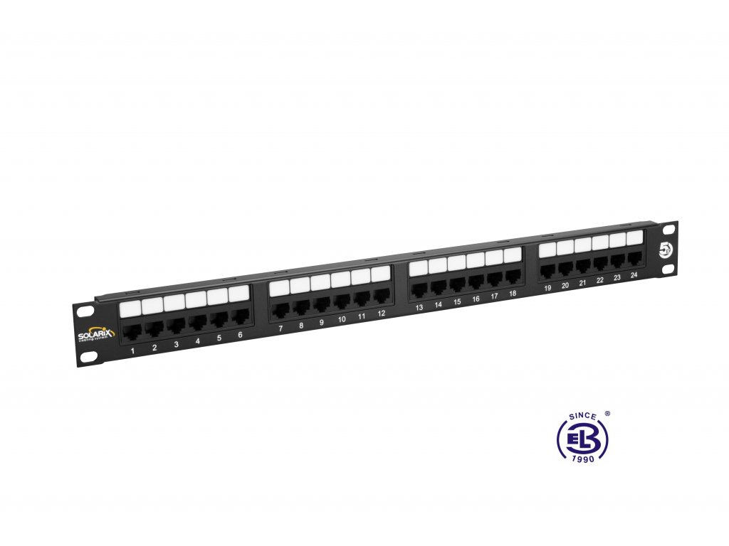 Patch panel Cat 5E UTP 24 x RJ45 150MHz černý 1U SOLARIX