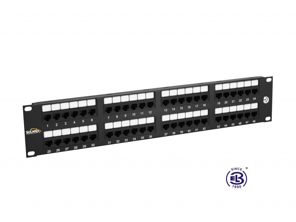 Patch panel Cat 5E UTP 48 x RJ45 150MHz černý 2U SOLARIX