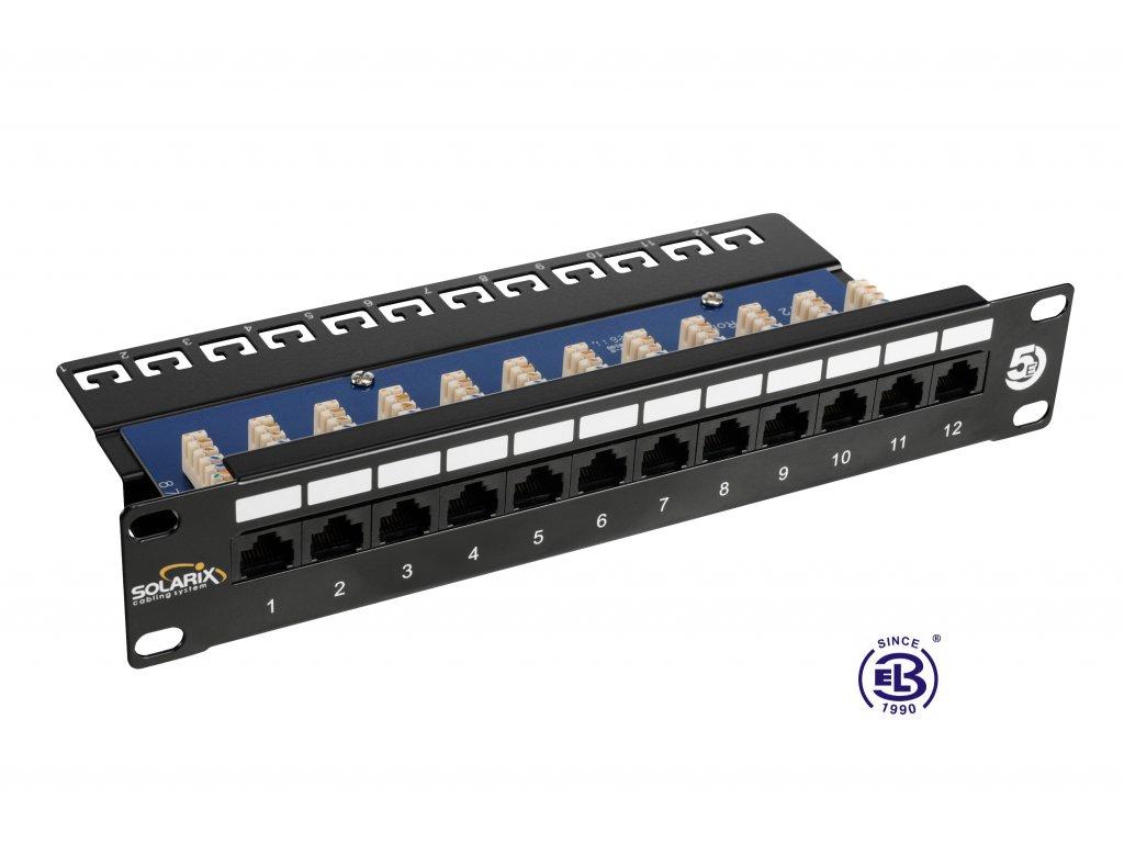 """Patch panel 10"""" Cat5E UTP 12 x RJ45 černý s vyvazovací lištou 1U SOLARIX"""