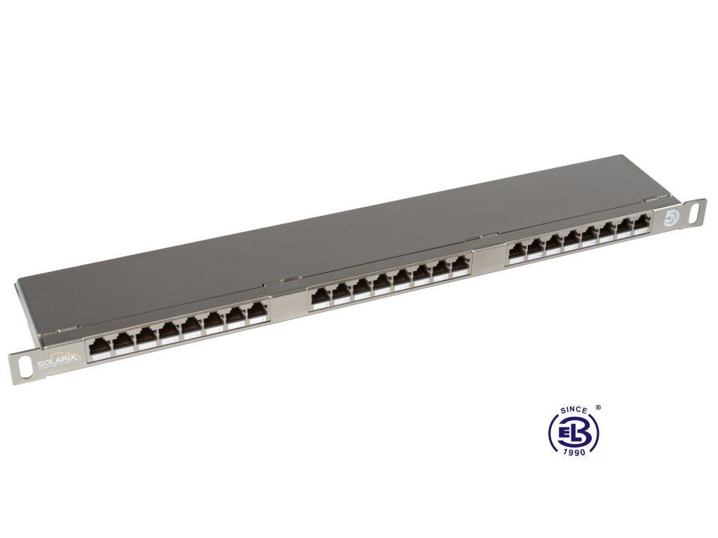 Patch panel Cat 5E STP 24 x RJ45 s vyvazovací lištou černý 0,5U SOLARIX