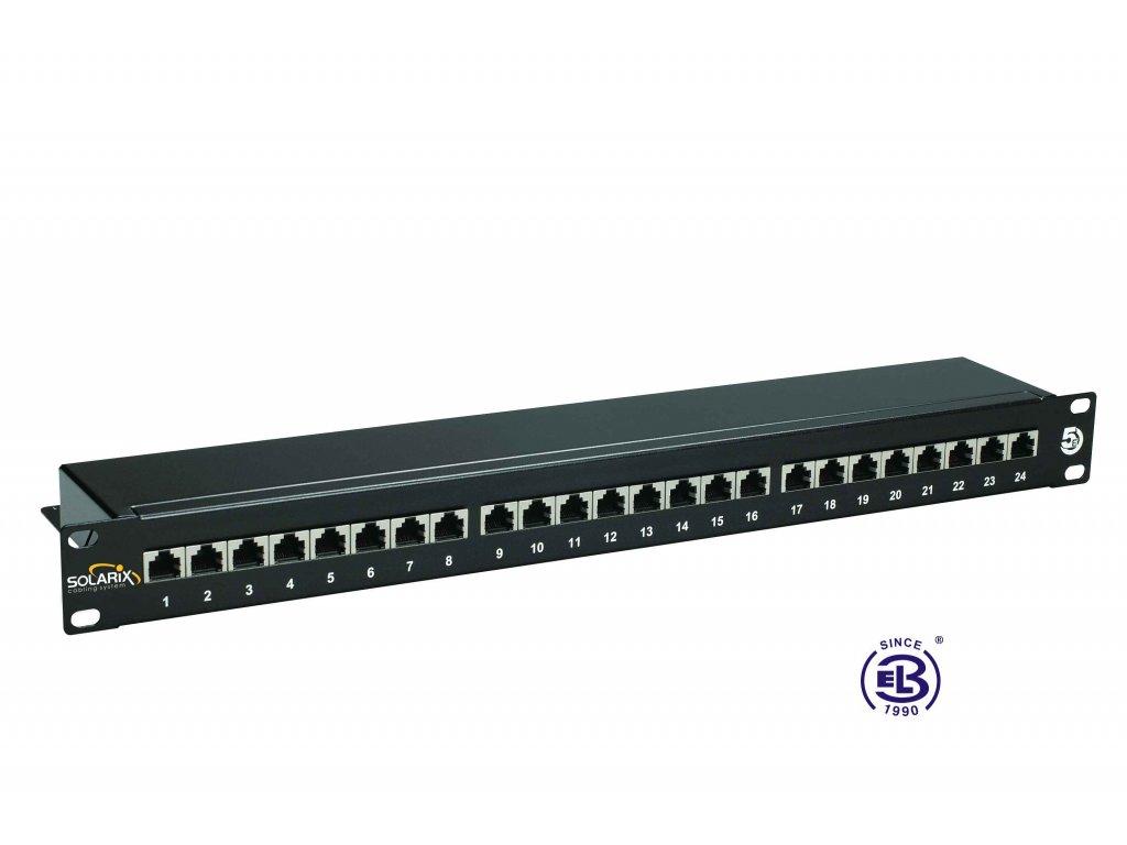Patch panel Cat 5E STP 24 x RJ45 černý 1U SOLARIX
