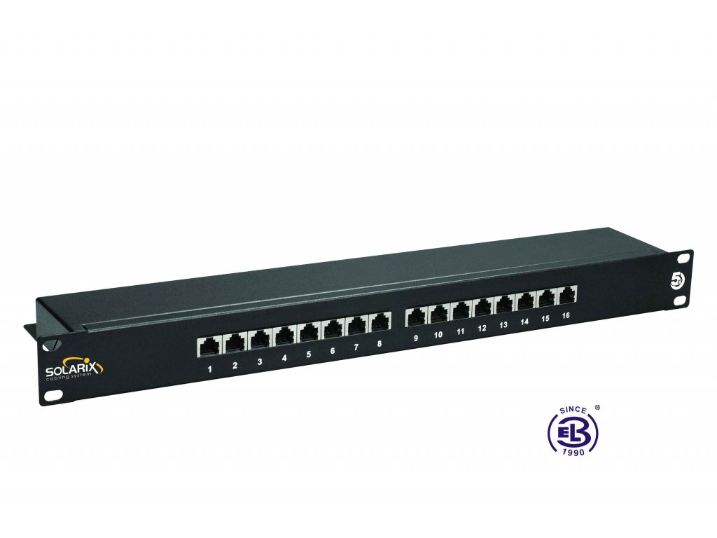 Patch panel Cat 5E STP 16 x RJ45 černý 1U SOLARIX