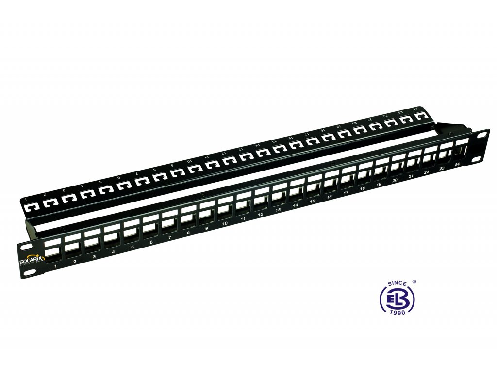 """Patch panel 19"""" Cat6A modulární neosazený 24 portů, 1U, černý"""
