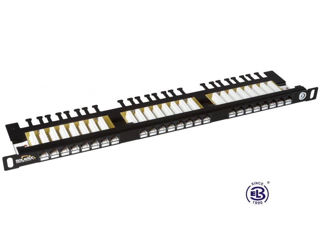 Patch panel Cat6 UTP 24 x RJ45 s vyvazovací lištou černý 0,5U SOLARIX