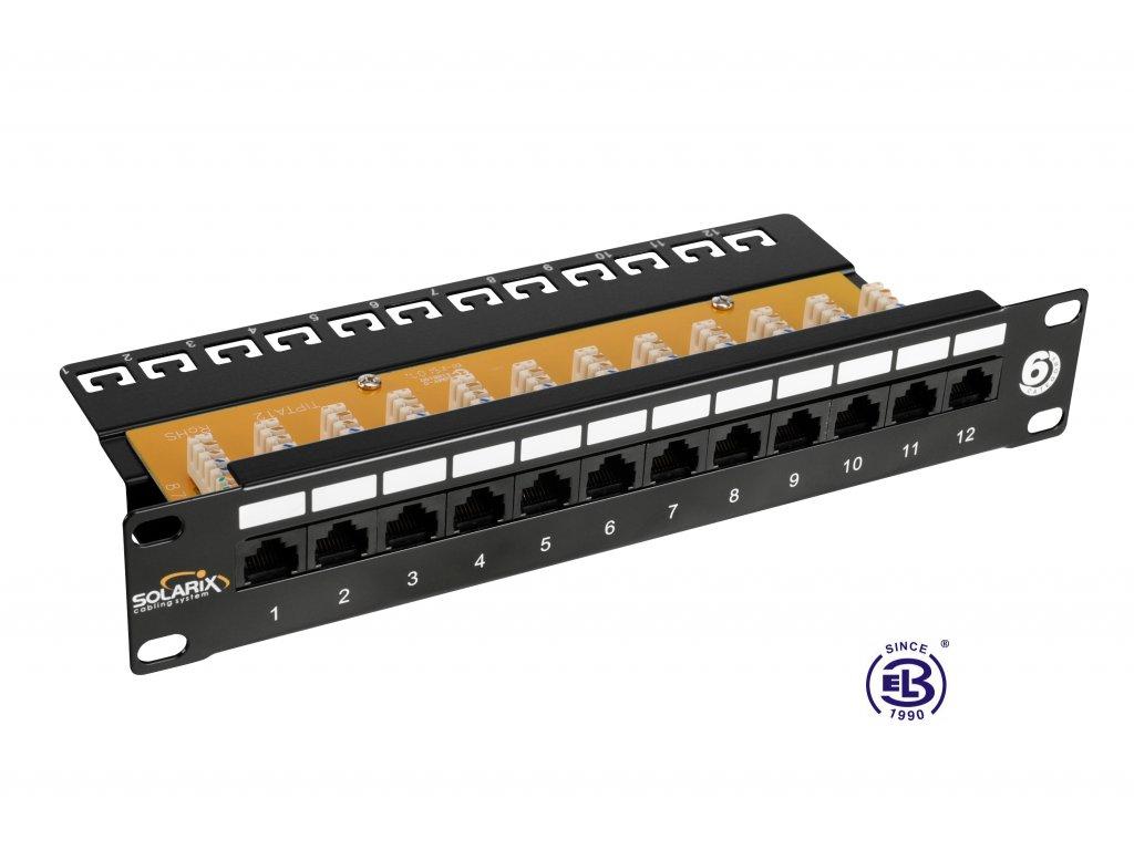"""Patch panel 10"""" Cat6 UTP 12 X RJ45 černý s vyvazovací lištou 1U SOLARIX"""