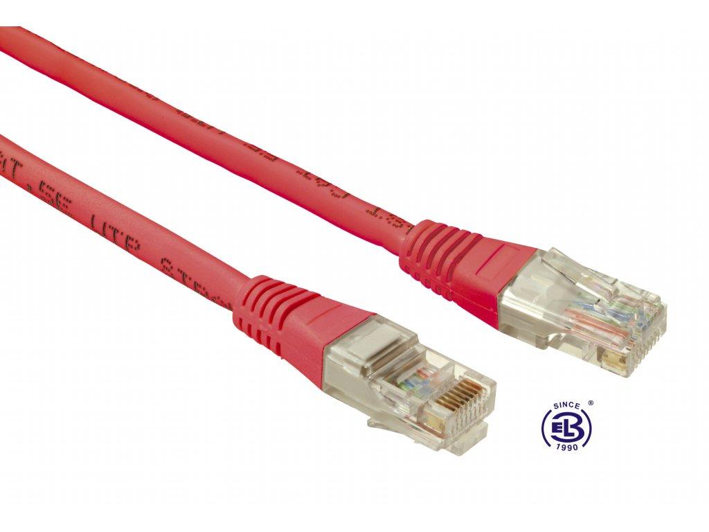 Patch kabel CAT5E UTP PVC 0,5m červený, non-snag proof, SOLARIX