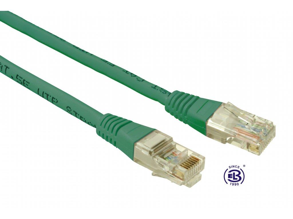 Patch kabel CAT5E UTP PVC 0,5m zelený, non-snag proof, SOLARIX