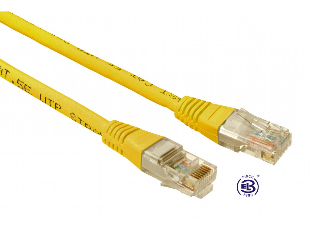Patch kabel CAT5E UTP PVC 2m žlutý, non-snag proof, SOLARIX