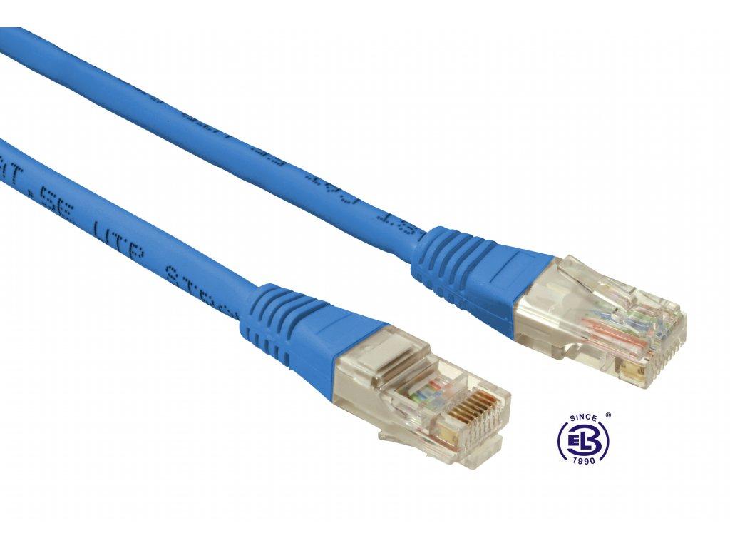 Patch kabel CAT5E UTP PVC 3m modrý, non-snag proof, SOLARIX