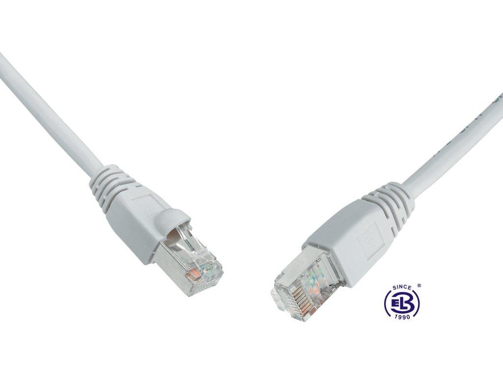 Patch kabel CAT5E SFTP PVC 0,5m šedý, snag-proof, SOLARIX