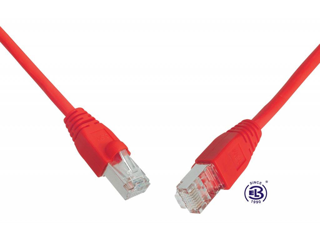 Patch kabel CAT5E SFTP PVC 0,5m červený, snag-proof, SOLARIX