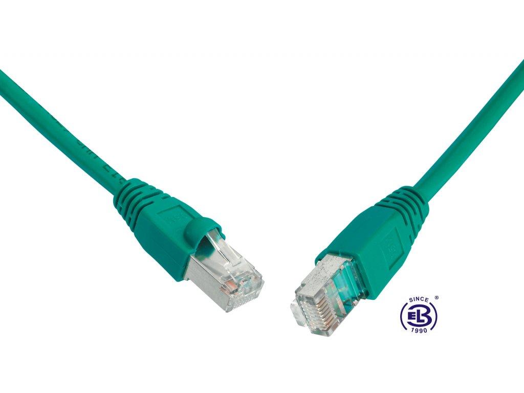 Patch kabel CAT5E SFTP PVC 0,5m zelený, snag-proof, SOLARIX
