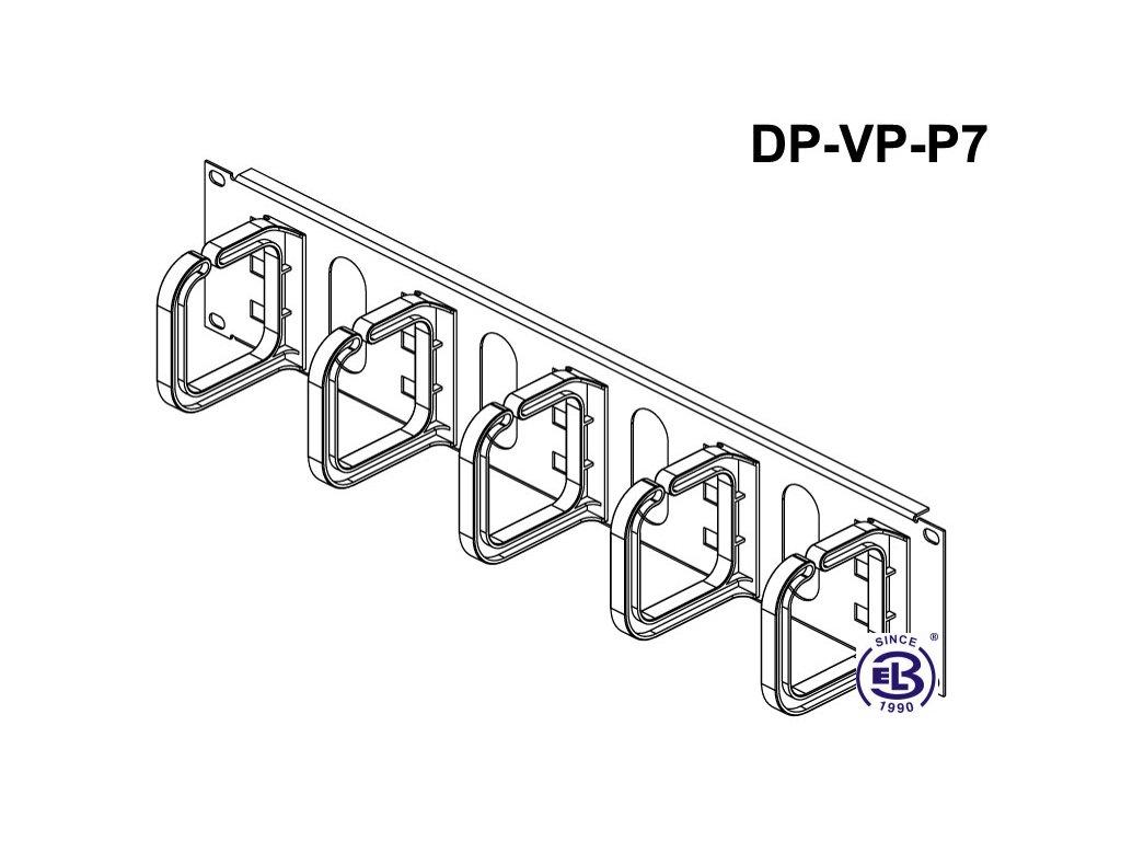 Vyvazovací panel s plastovými oky,2u černý 80x80mm DP-VP-P7-H Conteg