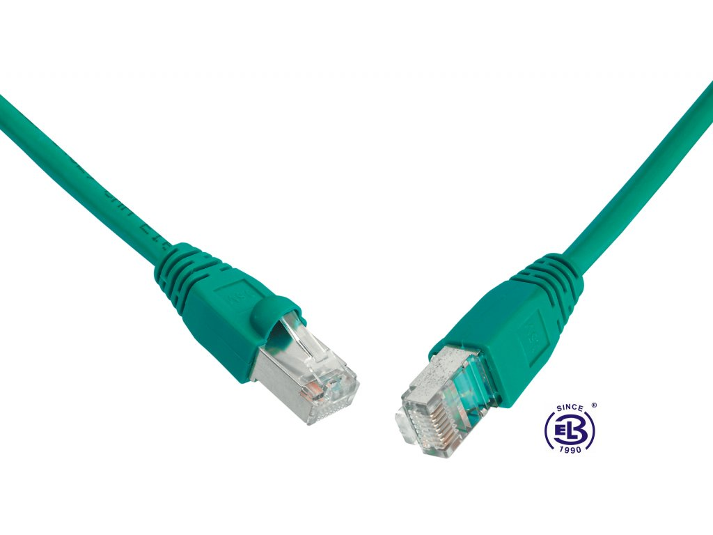 Patch kabel CAT5E SFTP PVC 1m zelený, snag-proof, SOLARIX