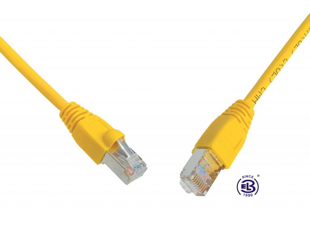 Patch kabel CAT5E SFTP PVC 10m žlutý, snag-proof, SOLARIX