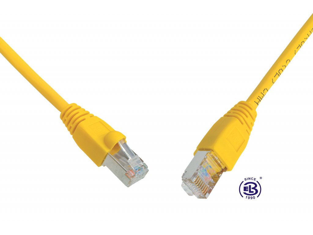Patch kabel CAT5E SFTP PVC 20m žlutý, snag-proof, SOLARIX