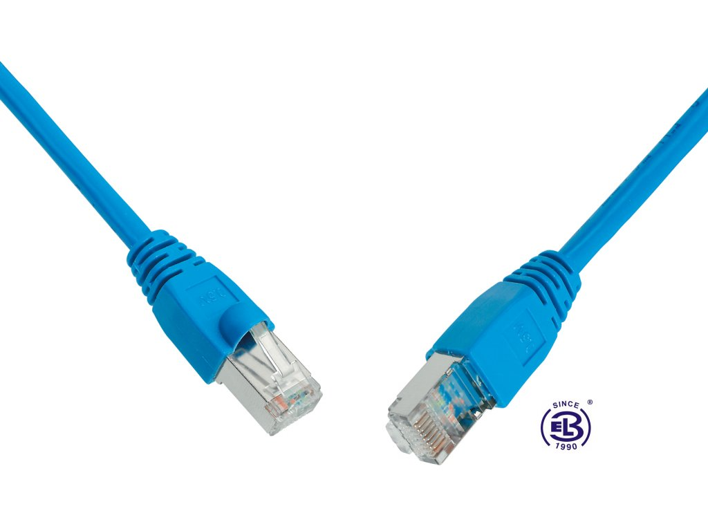 Patch kabel CAT5E SFTP PVC 5m modrý, snag-proof, SOLARIX
