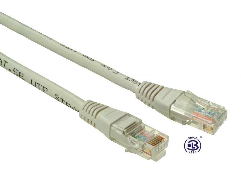 Patch kabel CAT6 UTP PVC 5m šedý, non-snag-proof, SOLARIX