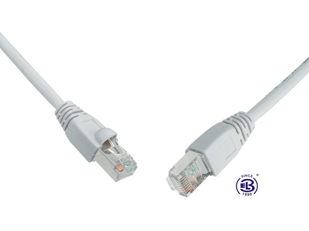 Patch kabel CAT6 SFTP PVC 1m šedý, snag-proof, SOLARIX