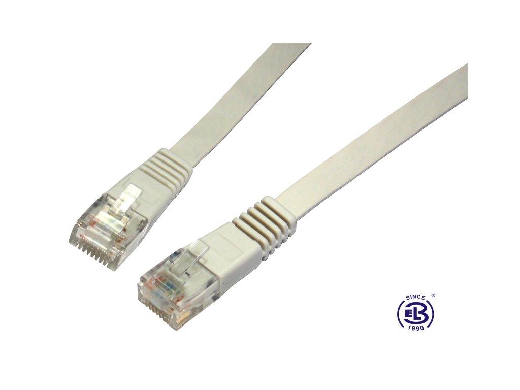 Patch kabel plochý CAT5E UTP LSOH 5m šedý, non-snag-proof, SOLARIX