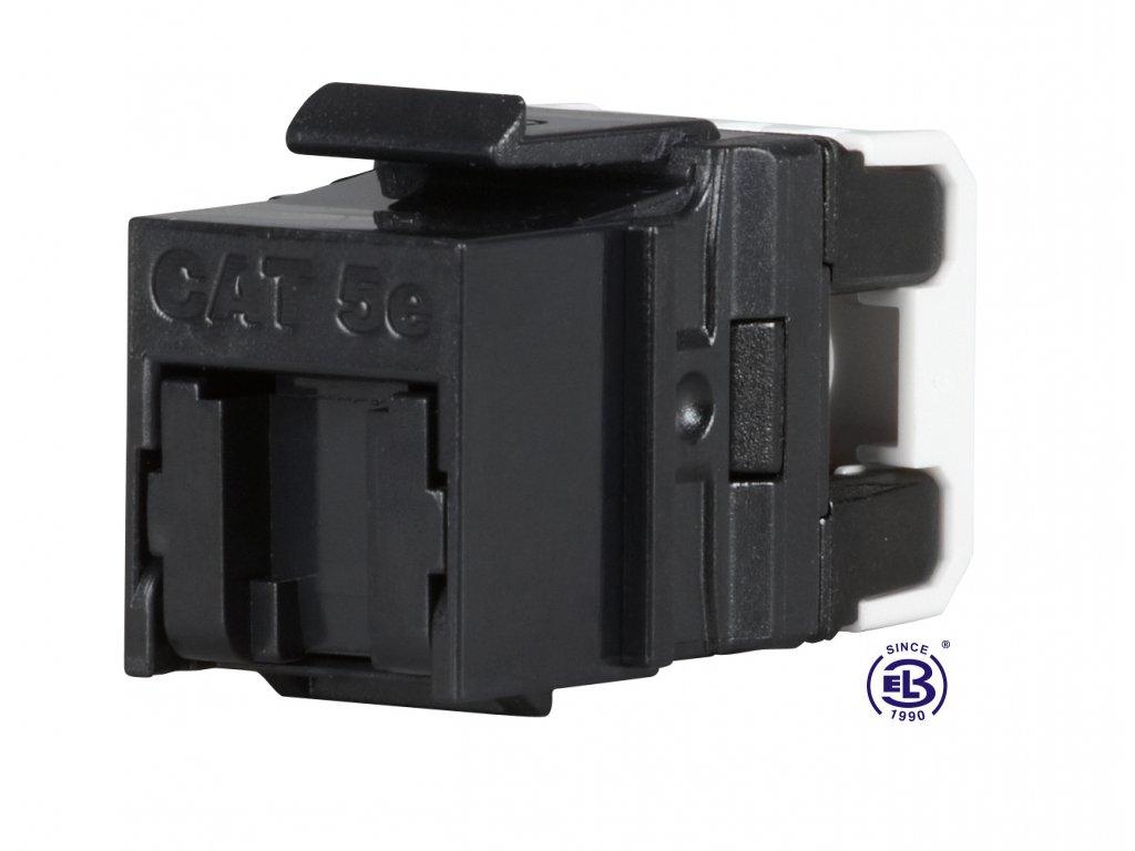 Keystone rychlozařezávací Cat5E UTP RJ45 černý SOLARIX