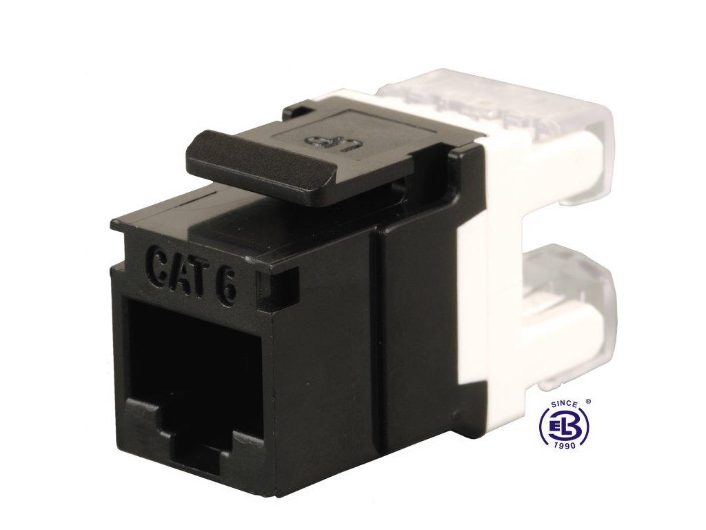 Keystone zařezávací Cat6 UTP RJ45 černý SOLARIX