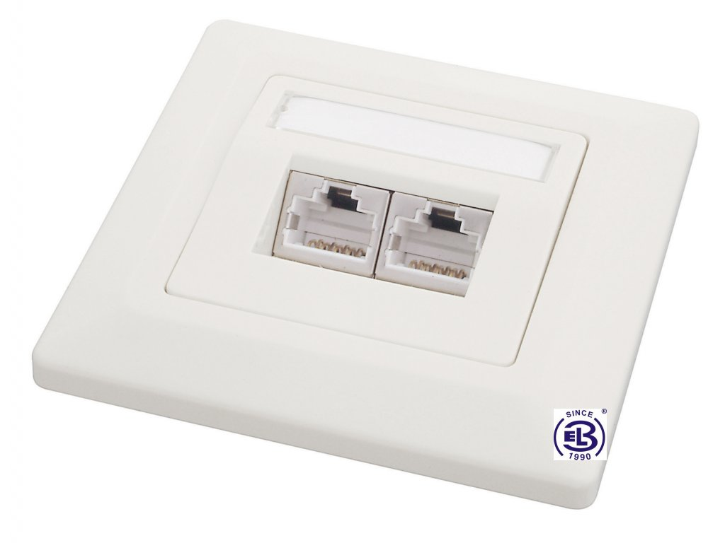 Zásuvka Cat5E STP 2xRJ45 bílá pod omítku SOLARIX