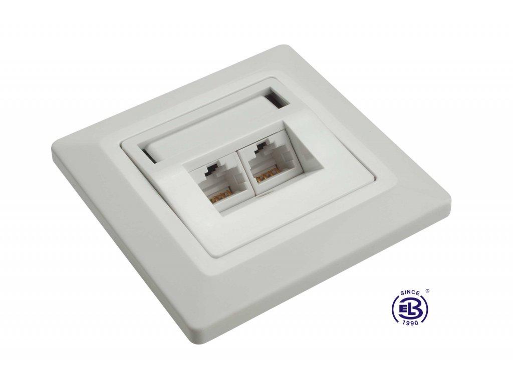 Zásuvka Cat5E UTP 2xRJ45 bílá pod omítku SOLARIX