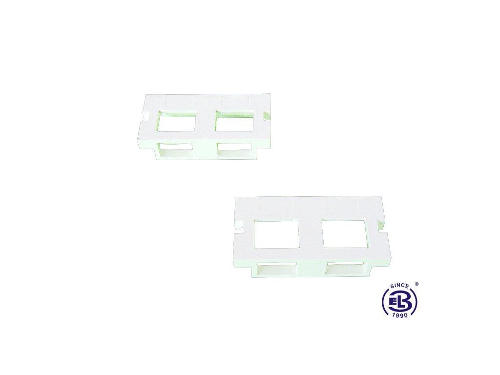 Čelo pro modulární zásuvku SX3 pro 2 keystony bílé SOLARIX 25x50mm