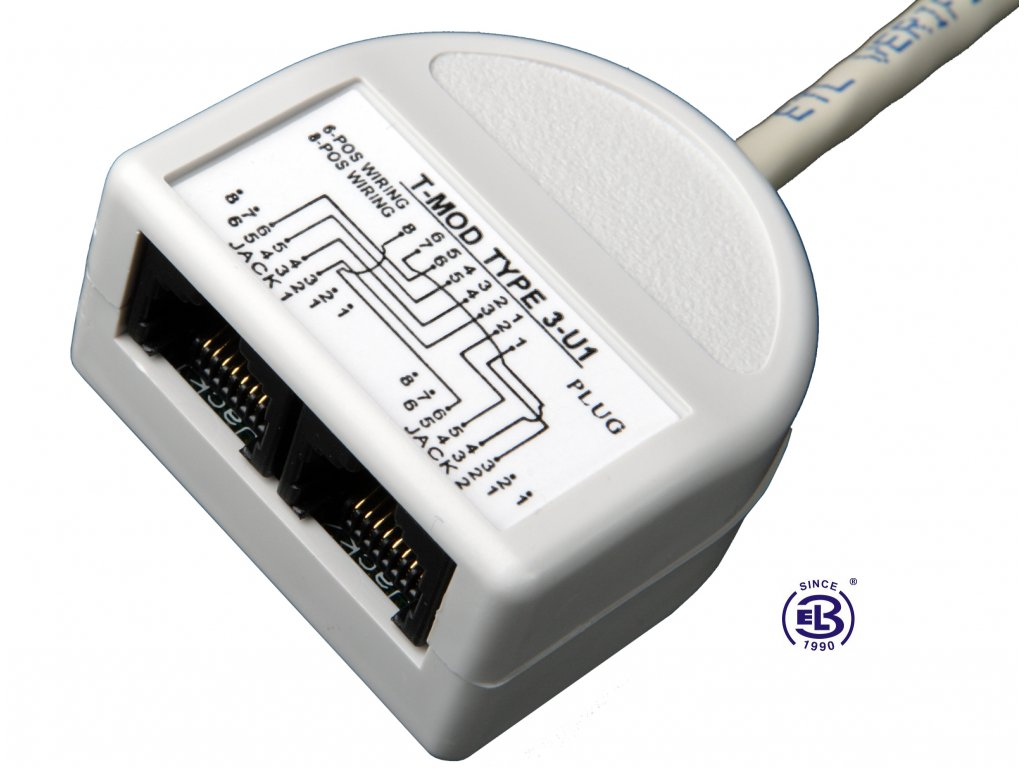 Rozdvojka telefon/telefon 2xRJ45 UTP T-MOD 3-U1
