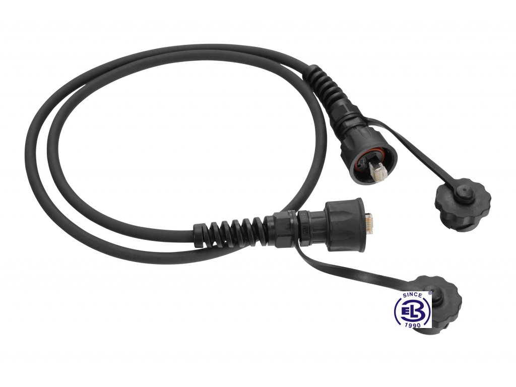 Patch kabel průmyslový Cat5E UTP 2m IP67 černý SOLARIX