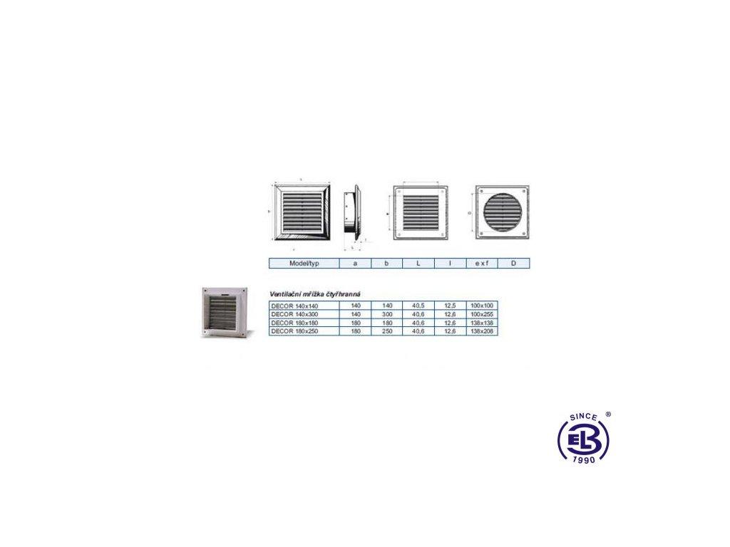 Mřížka ventilační Decor model Base 180x250mm BLAUBERG