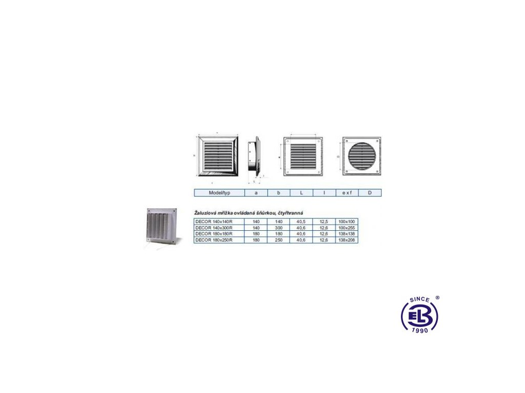 Mřížka ventilační Decor model Manual 180x180mm R BLAUBERG