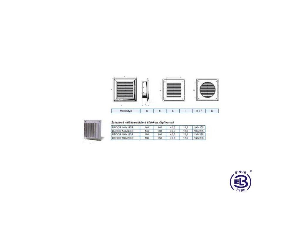 Mřížka ventilační Decor model Manual 180x250mm R BLAUBERG