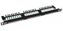 Patch panel Cat 5E UTP 24 x RJ45 s vyvazovací lištou černý 0,5U SOLARIX