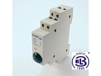 Kontrolka led 230V zelená jednonásobná ND9 ChiNT