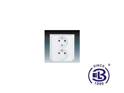 Zásuvka dvojnásobná polozapuštěná s ochrannými kolíky Classic, jasně bílá, řazení 2x(2P+PE), 5512-2249B1 ABB