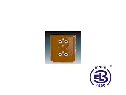 Zásuvka dvojnásobná polozapuštěná s ochrannými kolíky Classic, hnědá, řazení 2x(2P+PE), 5512-2249H3 ABB