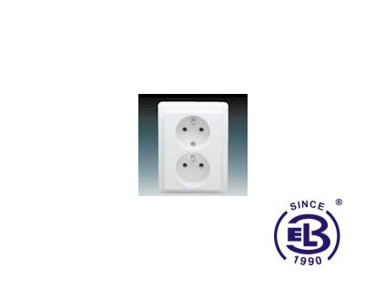 Zásuvka dvojnásobná s ochrannými kolíky Classic, jasně bílá, řazení 2x(2P+PE), 5512C-2349B1 ABB