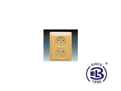 Zásuvka dvojnásobná s ochrannými kolíky Classic, béžová, řazení 2x(2P+PE), 5512C-2349D2 ABB