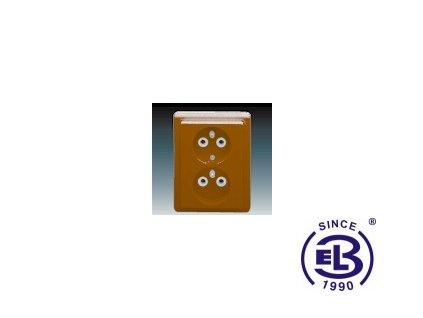 Zásuvka dvojnásobná s ochrannými kolíky Classic, hnědá, řazení 2x(2P+PE), 5512C-2349H3 ABB
