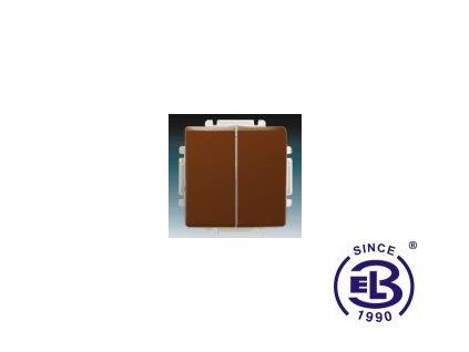 Přepínač střídavý dvojitý s krytem Swing/Swing L, hnědý, řazení 6+6 (6+1), 3557G-A52340H1 ABB