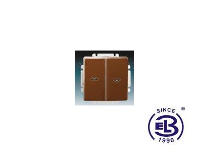 Spínač žaluziový jednopólový s krytem Swing/Swing L, hnědý, řazení 1+1 s blokováním, 3557G-A89340H1 ABB