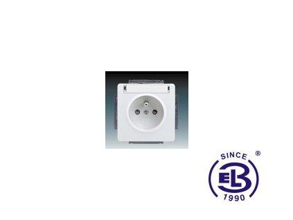 Zásuvka jednonásobná s ochranným kolíkem, s clonkami, s popisovým polem Swing/Swing L, jasně bílá, řazení 2P+PE, 5518G-A02352B1 ABB
