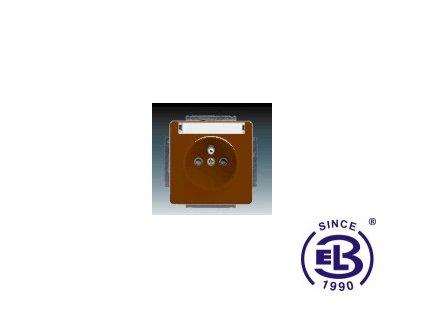 Zásuvka jednonásobná s ochranným kolíkem, s clonkami, s popisovým polem Swing/Swing L, hnědá, řazení 2P+PE, 5518G-A02352H1 ABB